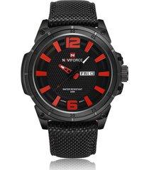 reloj hombre casual deportivo nylon naviforce 9066 negro rojo
