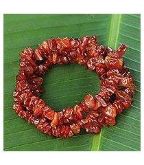 agate beaded bracelet, 'caramel incantation' (set of 3) (brazil)