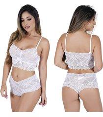 conjunto lingerie estilo sedutor caleçon e sutiã cropped em renda branco - kanui