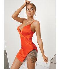 mini vestido sin mangas con cuello en v y diseño de cadena con borlas y corte sexy yoins