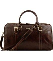 tuscany leather tl1014 berlino - borsa da viaggio in pelle con fibbie - misura piccola testa di moro