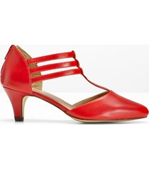 décolleté in pelle con cinturino (rosso) - bpc selection premium