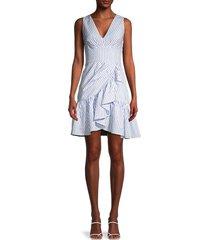 rebecca minkoff women's striped flounce-hem dress - milk sky - size 4