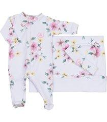 saída maternidade coquelicot 3 peças macacáo com ziper, manta e touca floral - tricae