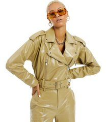 danielle bernstein patent faux-leather moto jacket, created for macy's