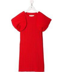 little bambah playa kaftan micro pleated dress - red