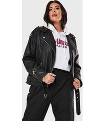 chaqueta missguided plus size boyfriend biker jac negro - calce regular