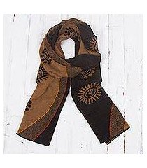 men's alpaca blend scarf, 'sepia and black cosmovision' (peru)