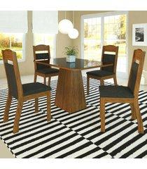 mesa de jantar 4 lugares hadassa zara seda/marrom - viero móveis