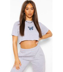 'babygirl' slogan butterfly detail crop t-shirt, grey
