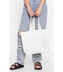 womens want weave only just begun tote bag - white