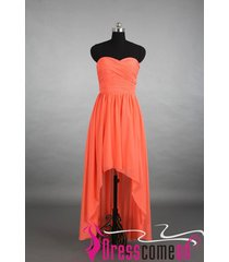 high low coral bridesmaid prom dress new coral prom bridal wedding gown bon17