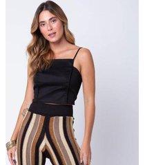 blusa mercatto cropped lace feminina - feminino