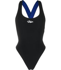 off-white logo-strap swimsuit - black