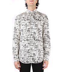 dolce & gabbana cream-colored cotton shirt with contrasting color all-over logo