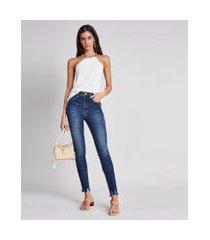 lez a lez - calça cintura alta cropped flat belly jeans