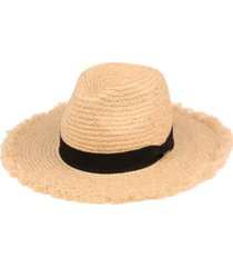 angela & william raffia straw raw edge panama hat