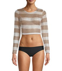 sam edelman women's striped long sleeve rashguard - metallic stripe - size m