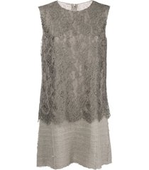 dolce & gabbana pre-owned lace panel short dress - brown