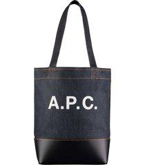 a.p.c. axelle denim & leather tote-bag-dak navy-m61444-iak