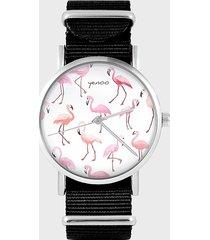 zegarek - flamingi - czarny, nylonowy