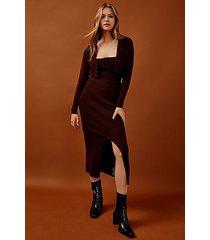 chocolate brown knitted skirt - chocolate