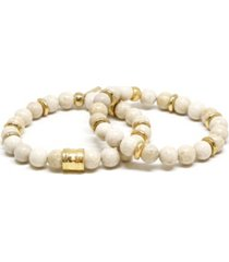 mr ettika cream beaded elastic bracelet