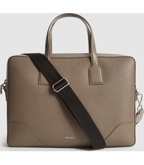 reiss elliott - leather briefcase in taupe, mens