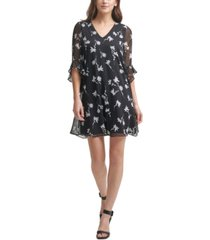 calvin klein petite ruffle-sleeve v-neck a-line dress
