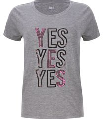 camiseta lentejuelas yes color gris, talla m