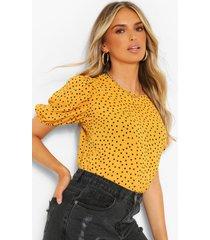 blouse met stippen en grote mouwen, mosterd