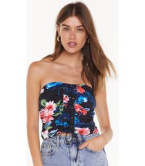 womens this is flower moment floral corset top - black