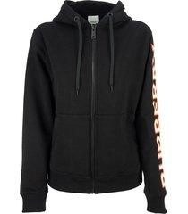 burberry rylee - logo print cotton oversized hooded sweatshirt