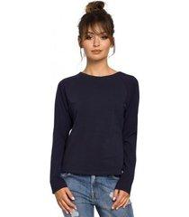 blouse be b047 veelzijdige blouse - marineblauw