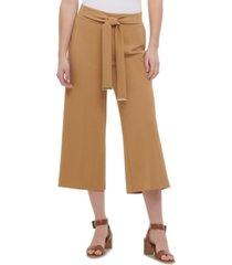 calvin klein tie-belt culotte pants