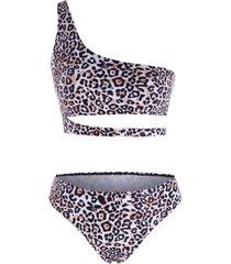 leopard one shoulder cutout cheeky bikini swimwear