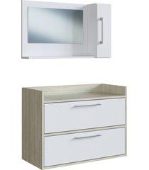 conjunto de balcã£o e espelheira p/ banheiro biara branco/nogal e estilare mã³veis - branco - dafiti