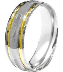 aliança prata mil abaulada fresada de prata c/ filete de ouro prata