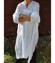 incerun hombres blusa musulmana de algodón con cuello en v blusa suelta y larga top loungewear ropa de dormir camiseta