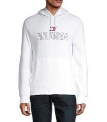 tommy hilfiger men's aerobic popover hoodie - bright white - size m