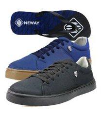 kit sapatenis casual neway sw masculino preto + azul + 1 chinelo neway