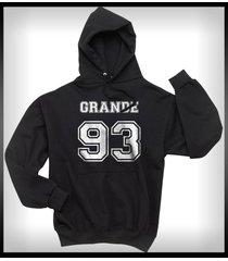 grande 93 white ink ariana grande printed on front of black hoodie s to 3xl