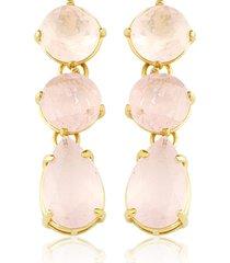 brinco toque de joia dois círculos gota quartzo rosa ouro amarelo