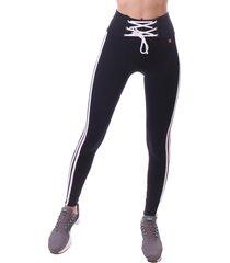calça simony lingerie legging com cordão soft power preto - kanui