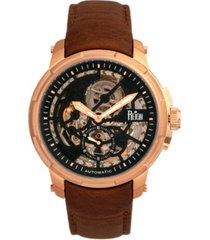 reign matheson automatic rose gold case, genuine brown leather watch 45mm