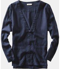 cappotto da uomo con scollo a v sottile di lino casual retrò