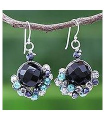 amethyst and cultured pearl dangle earrings, 'vivid dream in teal' (thailand)