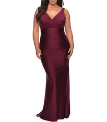 plus size women's la femme satin v-neck trumpet gown, size 24w - purple