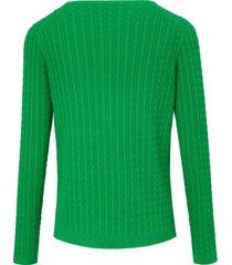 trui van 100% katoen met v-hals en lange mouwen van looxent groen