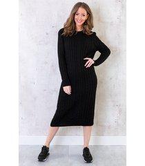 midi jurk met kabel zwart